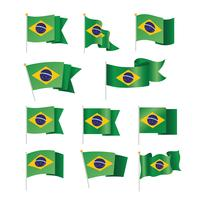 Conjunto de coleção de bandeiras do Brasil isolado no branco