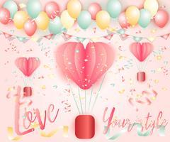 Cenário de balões coloridos brilhantes vetor