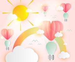 Amor cartão abstrato idéia lâmpadas coração rosa papel sobreposição estilo balão vermelho flutuando no ar vetor