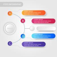 Infográfico de dados de negócios, gráfico de processo com 5 etapas, vetor e ilustração