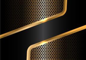A linha preta abstrata do ouro e a malha do círculo projetam a ilustração luxuosa moderna do vetor do fundo.