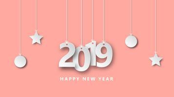 O estilo criativo do papel do projeto da ilustração do vetor do ano novo feliz 2019 cortou o estilo.