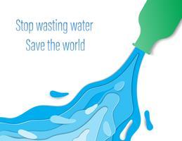 Conceito de redução de consumo de água desperdiçado. Água que flui de garrafas verdes. vetor