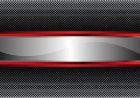 Linha de prata bandeira vermelha na ilustração moderna luxuosa do vetor do fundo do projeto da malha do círculo.