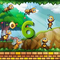 Número seis com 6 abelhas voando no jardim vetor