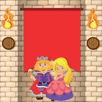Rei e princesa pelo banner vermelho vetor