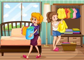 Mulher feliz, fazendo, casa, trabalho vetor