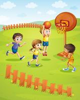 Crianças jogando basquete no parque vetor