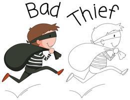 Personagem de ladrão mau Doodle vetor