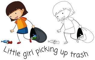 Doodle boa garota pegar o lixo vetor