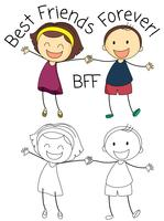 Doodle menino e menina melhores amigas vetor