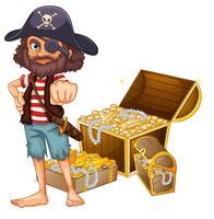 Um pirata com tesouro vetor
