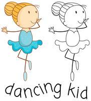 Doodle garota dançando balé vetor
