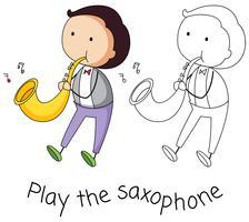 Doodle homem tocando saxofone vetor