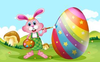 Feliz Páscoa com ovo de coelho de pintura vetor