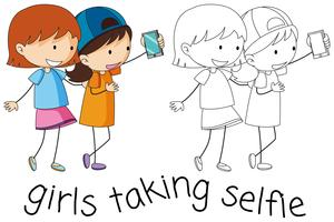 Doodle garotas tomando selfie vetor
