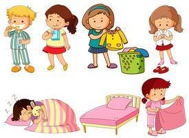 Conjunto de caractere de crianças dos desenhos animados vetor