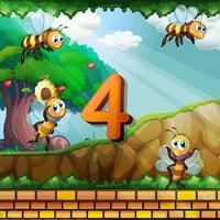 Número quatro com 4 abelhas voando no jardim