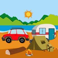Cameground com tenda e caravana vetor