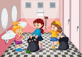 Crianças, colecionar, lixo, em, banheiro vetor