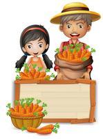 Agricultor com bandeira de madeira de cenoura vetor