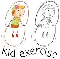 Doodle menino pulando corda