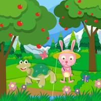 Tartaruga e coelho pesca pelo rio vetor