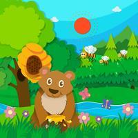 Urso e abelhas na floresta vetor