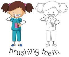 Doodle gráfico de escovar os dentes vetor