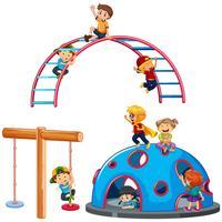 Crianças, tocando, pátio recreio, equipamento