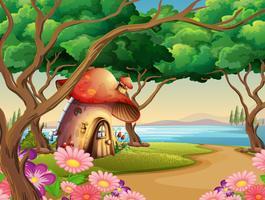 Casa de cogumelo à beira do lago vetor