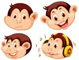 Conjunto de cabeça de macaco dos desenhos animados vetor