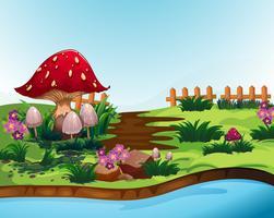Cena natureza, com, cogumelo, e, rio vetor