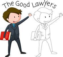 Um, doodle, advogado, personagem vetor