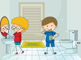 Menino no banheiro vetor