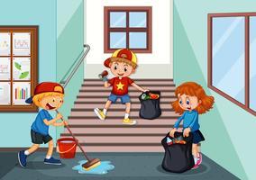 Crianças, limpeza, corredor escola vetor