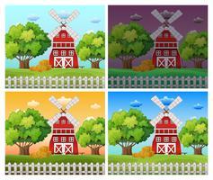 Cenas da fazenda em diferentes horas do dia