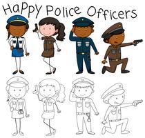 Doodle de caráter de policiais vetor