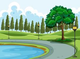 Um lago no parque vetor