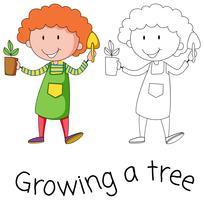 Doodle menino crescendo uma árvore vetor