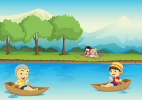 crianças e barco vetor