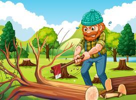 Cena, com, lenhador, picar árvores vetor
