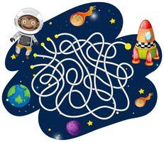 Jogo de labirinto astronauta macaco vetor