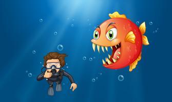 Homem, mergulhar scuba, sob, a, oceânicos vetor