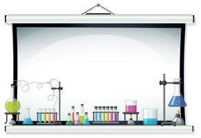 Tela do projetor com equipamento de laboratório vetor