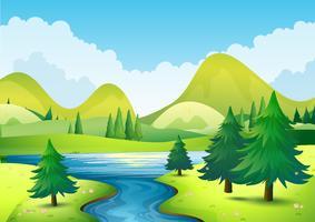 Cena da natureza com rio e colinas vetor