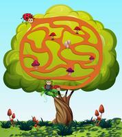 Modelo de jogo de quebra-cabeça com fundo de natureza vetor