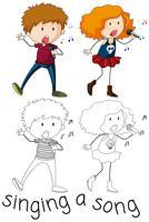 Doodle personagem de cantor de menino e menina vetor