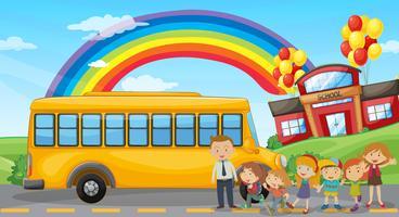 Alunos e ônibus escolar na escola vetor