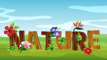 Design de fonte para a natureza da palavra com muitas flores vetor